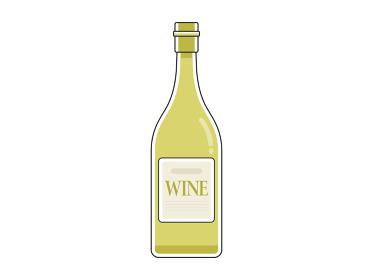 白ワインのボトルのイラスト