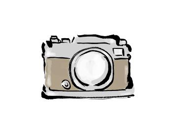 和風手描きイラスト素材 旅行 カメラ、トラベル、撮る、デジカメ、旅、カット、お出かけ、写す、一眼レフ