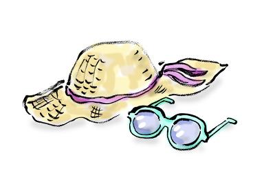 和風手描きイラスト素材 旅行 麦わら帽子, サングラス, ぼうし, 帽子, ストローハット, メガネ