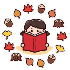 読書の秋 本を読む女の子