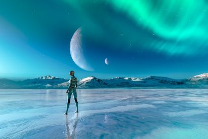 惑星が浮かびオーロラがある氷の大地に立つ電子回路の模様があるボディースーツを着た女性