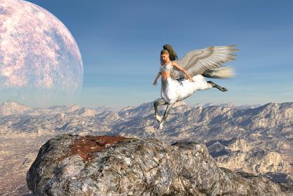 大きな惑星が空に浮かぶ岩山に降り立つ翼の生えたケンタウロス