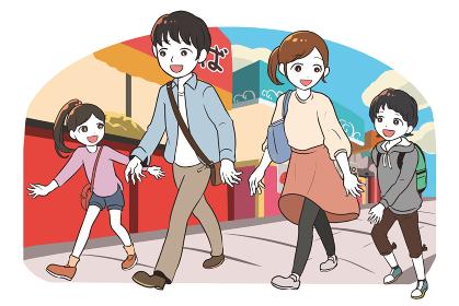 縁日に出かける家族(昼)