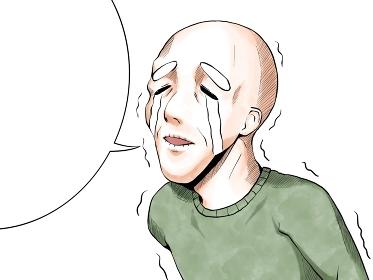 漫画風カラー_悲しくて泣くおじいさん_横_吹き出し