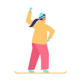 スノーボードをする冬の女性イラスト