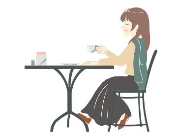 カフェでにこやかに過ごす女性 スカート(線無