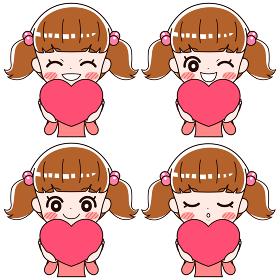 ハートの形を持って幸せそうに笑う女の子の4つの表情のセット