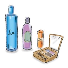 手描きイラスト お洒落 メイク用品 メイク道具 化粧品, コスメ, 化粧水, アイシャドウ, 口紅