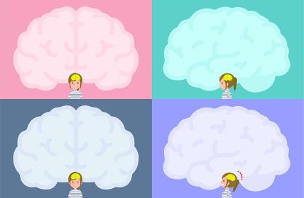 脳の形のフレームとカジュアルファッション女性のセット