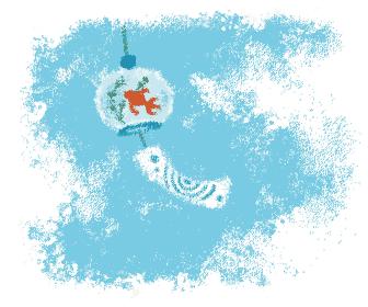 パステル画風 金魚模様の風鈴と夏空の涼しげな夏のイメージイラスト