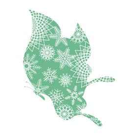 クリスマス素材 胡蝶と雪の結晶のデザイン アゲハチョウのオーナメント イラスト ベクター
