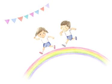 虹を走る子供 運動会イメージ 水彩イラスト