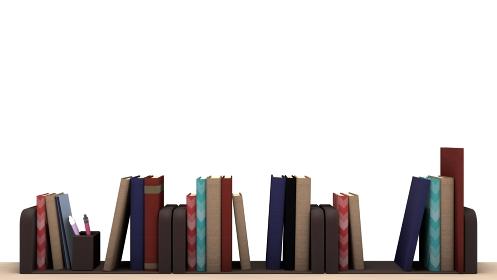 机の上にたくさんの本が並んでいる 3DCG