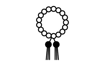 白黒の葬儀アイコン、数珠