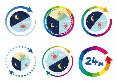 24時間のイメージイラストセット6種類