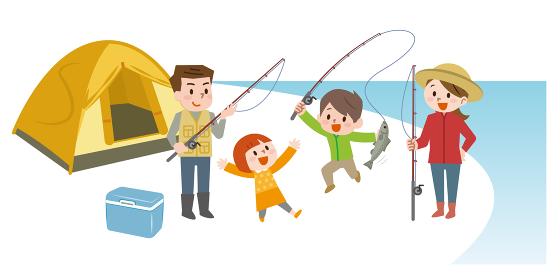 家族で魚釣り