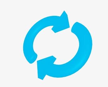 斜めから見た青色のループ矢印の素材