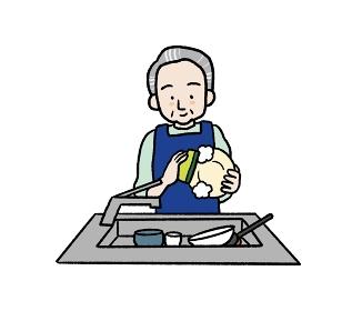 流し台で食器を洗うシニア男性のイラスト