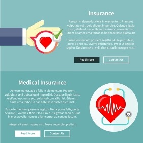 Medical and health insurance concept in flat style on banners with text and buttons read more and contact us. Can be used for web banners, marketing and promotional materials, presentation templates