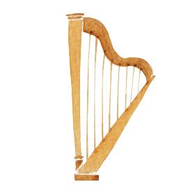 ハープ 楽器 オーケストラ 水彩 イラスト