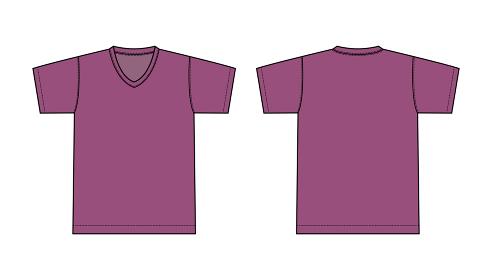 V ネック Tシャツ 絵型イラスト/ パープル