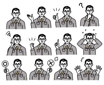 作業服 男性 ミドルエイジ 表情 セット ポップ 手描き