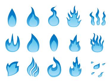 青い炎のアイコンマーク素材集