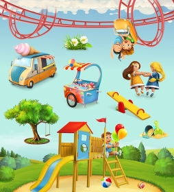 Children playground, outdoor games in the park, characters and objects set of vector icons