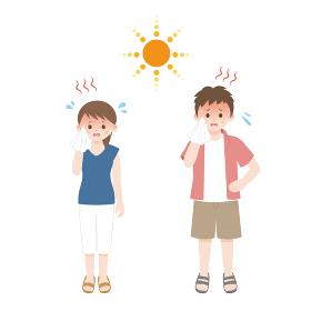 熱中症 暑がる男女のイラスト