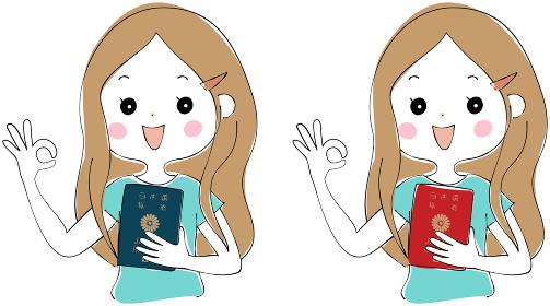パスポートを持ったロングヘアの若い女性