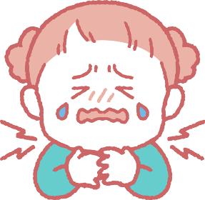 首/喉が痛い女の子のイラスト
