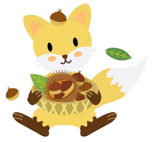 たくさんの栗の収穫に喜ぶキツネさん