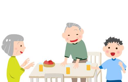孫と一緒に笑う老夫婦のイラスト