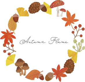 秋 丸 枠 フレーム イラスト パターン 紅葉 イチョウ どんぐり 松ぼっくり きのこ 葉っぱ