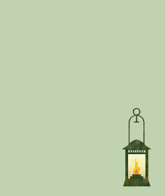 lighting lantern on green background