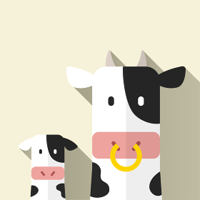 牛の親子、ベクターイラスト、フラットデザイン