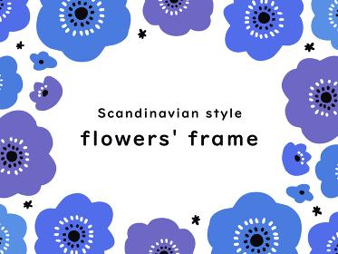 北欧風 手描きの花のフレーム