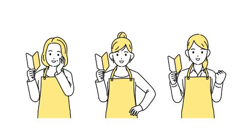 初心者マークを持つ主婦たち 女性 挑戦 チャレンジ イラスト素材
