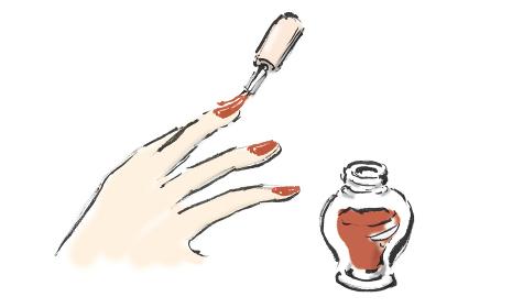 手描きイラスト素材 お洒落 マニキュア, つめ, 爪, ネイル, 塗る