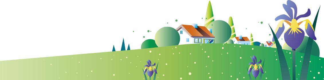 緑の丘の住宅と新緑とあやめ