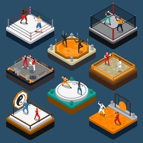 Martial Arts Isometric People Composition. People fighters and martial arts tournaments on various rings and dojo isometric composition isolated on blue background vector illustration