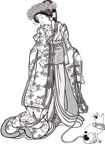浮世絵 女性 その30 白黒
