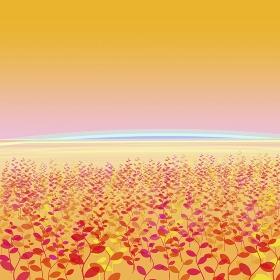 オレンジ地に植物イメージ