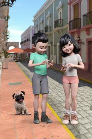 街中で男の子と女の子がスマートフォンで目的地までの道を調べながらペットのパグと一緒に散歩をしている