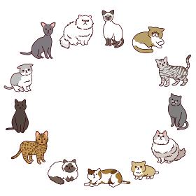 いろいろな種類のかわいい猫たちの円形イラストフレーム