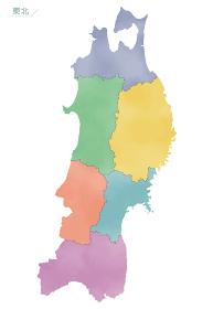 カラフルな水彩風の日本地図 東北地方