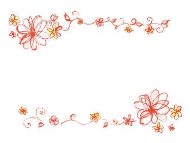 和風手描きイラスト素材 フレーム 飾り 花のフレーム 花
