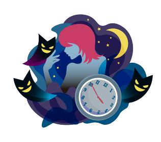 不眠症の女性イメージ ベクターイラスト 悪魔