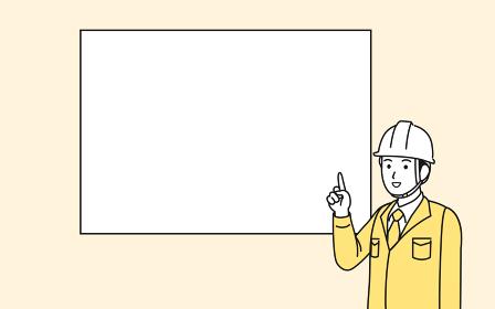 説明する 話す 現場監督 電気工事士 建築士 作業着を着た男性 コピースペース