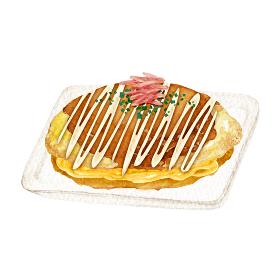 お好み焼き 縁日 祭 屋台 出店 食べ物 水彩 イラスト